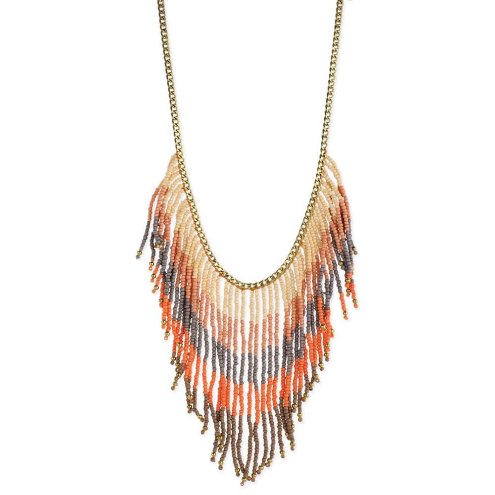 neutral bead fringe necklace
