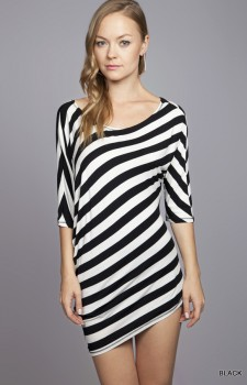Black and White Asymmetrical Dress
